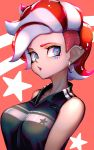 1girl agent_8 bare_shoulders black_shirt blue_eyes breasts collarbone ear_piercing earrings facial_mark head_tilt highres hoop_earrings jewelry kashu_(hizake) looking_at_viewer medium_breasts monster_girl octarian octoling orange_background piercing pointy_ears redhead shiny shiny_hair shirt short_hair sideways_glance sleeveless sleeveless_shirt solo splatoon splatoon_(series) splatoon_2 splatoon_2:_octo_expansion star starry_background suction_cups tentacle_hair undercut upper_body