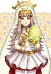 1girl adricarra animal_ears artist_name cleavage_cutout dress easter_egg egg fake_animal_ears fire_emblem fire_emblem_heroes flat_chest flower gloves grail grey_hair hair_flower hair_ornament highres holding long_hair nintendo parted_lips rabbit_ears red_eyes short_dress solo veronica_(fire_emblem) white_gloves white_legwear