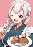 1girl ;d apron background_text bangs blush braid breasts brown_background brown_eyes cake confetti elf elu_(nijisanji) eyebrows_visible_through_hair fingernails flower food fork green_kimono hair_flower hair_ornament hair_over_shoulder happy_birthday holding holding_fork holding_plate japanese_clothes kimono light_brown_hair long_hair maid_headdress medium_breasts nijisanji one_eye_closed open_mouth plate pointy_ears red_flower slice_of_cake smile solo translation_request upper_body virtual_youtuber white_apron yamabukiiro