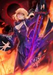 1girl absurdres artoria_pendragon_(all) blonde_hair braided_bun breasts cleavage dark_excalibur eyebrows_visible_through_hair fate/stay_night fate_(series) floating_hair highres holding holding_sword holding_weapon kuro_(ning2763) long_skirt long_sleeves looking_at_viewer medium_breasts outstretched_hand parted_lips pixiv_fate/grand_order_contest_2 print_shirt print_sleeves purple_shirt purple_skirt purple_sleeves saber_alter shirt shrug_(clothing) sideboob skirt sleeveless sleeveless_shirt smile solo standing sword weapon wide_sleeves yellow_eyes