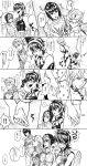 absurdres argyle argyle_sweater blush bob_cut braid bruno_buccellati bug choker comic excited giorno_giovanna greyscale guido_mista hair_ornament hairclip hand_holding hat highres insect jojo_no_kimyou_na_bouken ladybug midriff monochrome narancia_ghirga pompadour rii_(ri_jjriri) short_hair sitting skirt smile sweater trish_una vento_aureo watching_television