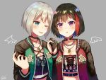 2girls aoba_moka bang_dream! bangs black_choker black_gloves black_hair blush breasts choker cleavage commentary_request drawn_wings eyebrows_visible_through_hair flower gloves green_eyes grey_background grey_hair hand_holding interlocked_fingers jacket jewelry mitake_ran multicolored multicolored_clothes multicolored_hair multiple_girls necklace nyacha_(tya_n_ya) one_eye_closed open_clothes open_jacket red_eyes redhead short_hair simple_background streaked_hair tongue tongue_out upper_body