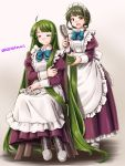 2girls absurdly_long_hair adapted_costume alternate_costume apron blue_ribbon bob_cut boots bow bowtie breasts brown_eyes brown_footwear chair closed_eyes comb commentary_request cross-laced_footwear dress enmaided eyebrows_visible_through_hair frilled_apron frilled_dress frills full_body gradient gradient_background green_hair grey_background kantai_collection lace-up_boots long_hair long_sleeves looking_at_viewer maid maid_apron maid_headdress medium_breasts mole mole_under_mouth multiple_girls pink_background purple_dress ribbon shirt short_hair_with_long_locks sitting small_breasts takanami_(kantai_collection) tatsumi_ray twitter_username very_long_hair white_apron white_shirt yuugumo_(kantai_collection)