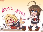 2girls ahoge bag blonde_hair blue_eyes blue_legwear blue_serafuku blue_skirt braided_ponytail brown_footwear brown_hair chibi commentary_request dated dog_tail enemy_naval_mine_(kantai_collection) fang fingerless_gloves flying_sweatdrops gloves gradient gradient_background hair_flaps hair_ornament huge_ahoge kantai_collection kneehighs knees_together leash leash_pull long_hair looking_at_another looking_to_the_side miccheru microskirt midriff motion_lines multiple_girls neckerchief open_mouth orange_background outstretched_arm reaching red_eyes red_neckwear shadow shigure_(kantai_collection) shopping_bag short_hair short_sleeves simple_background skirt standing tail tail_wagging translation_request twitter_username very_long_hair wavy_mouth yuudachi_(kantai_collection)