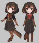 1girl animal_ears black_bow black_gloves black_hair boots bow brown_eyes brown_footwear brown_gloves brown_hair brown_skirt character_request chibi copyright_request cross-laced_footwear dachshund_(kemono_friends)_(nyifu) dog_ears dog_tail elbow_gloves eyebrows_visible_through_hair full_body gloves grey_background kemono_friends kneehighs lace-up_boots looking_at_viewer multicolored multicolored_clothes multicolored_gloves multicolored_hair multiple_views nyifu original original_fan_character short_hair simple_background skirt solo standing tail