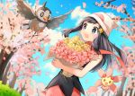 1girl :d black_hair black_shirt blue_eyes blue_sky blurry blurry_background bouquet cherrim clouds creatures_(company) day floating_hair flower game_freak hair_ornament hairclip hat hikari_(pokemon) holding holding_bouquet long_hair nintendo open_mouth outdoors petals pink_flower pink_skirt poke_ball_print pokemon pokemon_(game) pokemon_dppt pokoemon_(creature) print_hat red_scarf scarf shirt skirt sky sleeveless sleeveless_shirt smile solo standing starly white_headwear yellow_flower yuhi_(hssh_6)