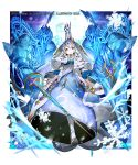 1girl armor artist_name blue_background blue_dress blue_eyes crown dress fur_trim gold_trim lance looking_at_viewer magic_circle official_art polearm royal_robe silver_hair smile snowflakes solo standing sukja sword valkyrie_connect watermark weapon white_footwear