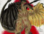 absurdres claws dragon dragon_horns dragon_tail dragon_wings fangs godzilla_(series) highres horns huge_filesize kaijuu king_ghidorah monster monsterkingofkarmen multiple_heads multiple_tails no_humans open_mouth red_eyes scales sharp_teeth solo solo_focus tail teeth traditional_media wings