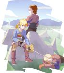 06erunium argath_thadalfus armor blonde_hair boots brown_hair commentary_request delita_heiral final_fantasy final_fantasy_tactics gloves male_focus multiple_boys ponytail ramza_beoulve sword weapon