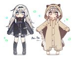 1girl an-94_(girls_frontline) animal_costume animal_ears animal_hood bangs barefoot black_footwear black_legwear blue_eyes blush character_name chibi closed_mouth eyebrows_visible_through_hair fake_animal_ears girls_frontline grey_jacket grey_shorts hair_between_eyes headpiece hood hood_up jacket jitome kneehighs long_hair long_sleeves looking_at_viewer multiple_views outstretched_arms puffy_long_sleeves puffy_sleeves shadow shoes short_shorts shorts sidelocks silver_hair sleeves_past_wrists squirrel_costume squirrel_ears squirrel_hood standing translated tsuka twitter_username very_long_hair white_background