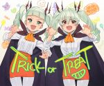 2girls aikatsu! aikatsu!_(series) anchovy bangs bat_hair_ornament black_cape black_ribbon blunt_bangs blush candy cape claw_pose commentary_request cowboy_shot cravat crossover drawing dress_shirt drill_hair english_text eyebrows_visible_through_hair fangs food girls_und_panzer green_eyes green_hair hair_ornament hair_ribbon jack-o'-lantern kamo_kamen leaning_to_the_side long_hair looking_at_viewer miniskirt multiple_girls nail_polish open_mouth orange_neckwear orange_skirt pantyhose pencil_skirt pink_nails red_eyes ribbon shirt skirt skull smile standing toudou_yurika trick_or_treat twin_drills twintails v-shaped_eyebrows white_legwear