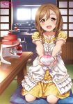 1girl alternate_hairstyle bangs bottle braid chair dress eyebrows_visible_through_hair flower food_coloring frill_trim glass_bowl hair_between_eyes hair_flower hair_ornament highres indoors inou_shin kitchen kunikida_hanamaru light_brown_hair living_room looking_at_viewer love_live! love_live!_sunshine!! machinery official_art open_mouth pillow presenting seiza shaved_ice short_sleeves sidelocks sitting smile sunlight table twin_braids window yellow_dress yellow_eyes