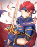 1boy blue_cape blue_eyes blue_gloves blue_headband cape fingerless_gloves fire_emblem fire_emblem:_fuuin_no_tsurugi gloves haru_(nakajou-28) holding holding_sword holding_weapon intelligent_systems male_focus nintendo redhead roy_(fire_emblem) shiny shiny_hair short_hair short_sleeves shoulder_armor smile solo spaulders super_smash_bros_melee sword weapon