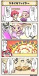 /\/\/\ 4koma blonde_hair blue_eyes breasts character_name comic costume_request explosion flower flower_knight_girl food_request german_iris_(flower_knight_girl) hair_flower hair_ornament hat hibiscus_(flower_knight_girl) o_o onomatopoeia open_mouth redhead sailor_hat shaded_face short_hair smoke speech_bubble surprised tagme throwing translation_request violet_eyes |_|
