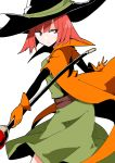 1girl bangs black_headwear cape dragon_quest dragon_quest_iii dress gloves green_dress hat holding holding_staff looking_away looking_to_the_side mage_(dq3) orange_cape orange_gloves red_eyes redhead sash short_hair simple_background solo staff taniya_raku white_background wizard_hat