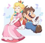 1boy 1girl bare_shoulders blonde_hair blue_eyes closed_eyes crown dress earrings facial_hair full_body gloves jewelry long_hair mario mario_(series) music mustache nintendo omochi_(glassheart_0u0) overalls pink_dress princess_peach simple_background smile super_mario_bros.