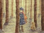 1girl animal bangs blue_headwear boots brown_footwear dog expressionless fog long_hair long_sleeves looking_at_viewer original outdoors pink_hair purple_scarf sakura_szm scarf solo standing tree very_long_hair wide_shot