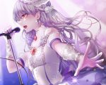 1girl arched_back bang_dream! blue_background detached_sleeves dress earrings flower from_side hair_flower hair_ornament haiso_o holding holding_microphone jewelry lace-trimmed_hat long_hair looking_to_the_side microphone microphone_stand minato_yukina music open_hand open_mouth orange_eyes outstretched_hand profile puffy_short_sleeves puffy_sleeves rose roselia_(bang_dream!) sapphire_(gemstone) see-through_sleeves short_sleeves silver_hair simple_background singing solo standing sweat upper_body upper_teeth very_long_hair white_dress white_flower white_headwear white_rose wrist_cuffs