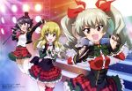 3girls :d absurdres alternate_costume anchovy bangs belt black_hair blonde_hair blush boots bow braid breasts brown_eyes capelet carpaccio drill_hair epaulettes eyebrows_visible_through_hair frilled_skirt frills girls_und_panzer green_eyes green_hair hair_ribbon hat highres idol juliet_sleeves jumping leg_garter long_hair long_sleeves magazine_scan medium_breasts microphone mini_hat mini_top_hat multiple_girls nail_polish necktie official_art open_mouth pepperoni_(girls_und_panzer) pinky_out plaid plaid_skirt puffy_sleeves red_eyes ribbon riding_crop scan shirt short_hair side_braid single_braid skirt smile spotlight stage thigh-highs top_hat twin_drills white_legwear white_shirt