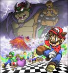 absurdres aircraft airship ball blonde_hair blue_eyes blue_hair bowser brown_hair cape castle clouds crying fleeing glowing glowing_eyes green_hair highres huge_filesize iggy_koopa larry_koopa lemmy_koopa lightning ludwig_von_koopa luigi mario mario_(series) molten_rock morton_koopa_jr. mountain muscle mushroom nintendo princess_peach raccoon_tail roy_koopa spiked_armlet spiked_shell super_mario_bros._3 supercaterina sweatdrop tail toad volcano wand wendy_o._koopa