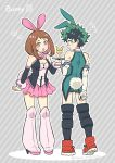 1boy 1girl :o adapted_costume animal_ears blush blush_stickers boku_no_hero_academia boots bow bowtie breasts brown_eyes brown_hair bunny_boy bunny_girl bunny_tail cleavage english_text fake_animal_ears fake_tail freckles glass green_eyes green_hair high_heel_boots high_heels knee_boots looking_back midoriya_izuku nightcat rabbit_ears shoes shorts skirt sneakers striped striped_background tail tray uraraka_ochako
