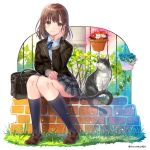 1girl bag black_jacket bow bowtie brick_wall brown_eyes brown_hair cat collared_shirt commentary_request flower_pot grass hand_on_own_cheek hanekoto jacket loafers looking_at_viewer original plaid plaid_skirt pleated_skirt school_uniform shirt shoes short_hair sitting skirt socks solo twitter_username