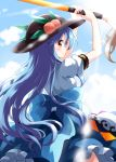 1girl arms_up blue_bow blue_hair blue_skirt blue_sky bow clouds day food from_behind fruit hat highres hinanawi_tenshi large_bow leaf light_rays long_hair looking_back outdoors peach puffy_short_sleeves puffy_sleeves red_eyes ruu_(tksymkw) shirt short_sleeves skirt sky smile solo sunbeam sunlight sword_of_hisou touhou very_long_hair white_shirt