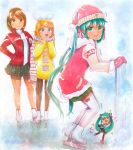 3girls bangs black_legwear black_skirt blonde_hair blue_hair brown_eyes brown_hair clenched_teeth fur-trimmed_sleeves fur_trim gloves green_eyes green_skirt hair_ribbon hairband hand_on_hip hat hatsune_miku highres hood hood_down ice_skating jacket kagamine_rin long_hair long_sleeves looking_at_viewer marker_(medium) mayo_riyo meiko miniskirt multiple_girls open_clothes open_jacket outdoors pantyhose pleated_skirt red_gloves red_headwear red_jacket red_ribbon ribbon santa_hat scarf short_hair skating skirt standing striped striped_skirt sweater swept_bangs teeth thigh-highs traditional_media turtleneck turtleneck_sweater twintails very_long_hair vocaloid white_hairband white_legwear white_sleeves white_sweater yellow_sweater zettai_ryouiki