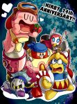 bandana_waddle_dee bandanna blue_eyes cape closed_eyes covering_mouth eating goggles hand_over_own_mouth heart jizo_yukari king_dedede kirby kirby:_planet_robobot kirby_(series) maxim_tomato meta_knight nintendo open_mouth reading robe robobot_armor star susie_(kirby) sweatdrop wide-eyed wrench
