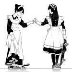 2girls apron closed_eyes commentary_request dress fist_bump frills full_body greyscale hair_bun holding holding_skateboard long_dress long_sleeves looking_at_another maid maid_apron maid_headdress monochrome multiple_girls original shoes simple_background skateboard sneakers standing suzushiro_(suzushiro333) white_background