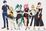 2boys 4girls bangs bare_shoulders belt black_footwear black_pants blonde_hair blue_eyes blunt_bangs blush bow breasts brown_eyes brown_footwear brown_hair closed_mouth dress dress_bow eyebrows_visible_through_hair eyewear_removed full_body green_eyes green_footwear green_hair grey_pants hand_in_pocket hatsune_miku kagamine_len kagamine_rin kaito kamo_kamen long_hair long_sleeves looking_at_viewer megurine_luka meiko multiple_boys multiple_girls open_mouth pants parted_bangs pink_hair pleated_dress purple_hair red_footwear shirt short_hair short_sleeves simple_background standing striped striped_shirt sunglasses vocaloid white_belt yellow_bow yellow_footwear