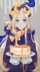 1girl abigail_williams_(fate/grand_order) bangs black_bow black_dress blonde_hair blue_eyes bow dress fate/grand_order fate_(series) gina_61324 grey_background hair_bow highres holding holding_plate long_hair long_sleeves looking_at_viewer multiple_hair_bows parted_bangs plate polka_dot polka_dot_bow sleeves_past_wrists smile solo standing tentacle very_long_hair yellow_bow