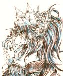 1girl absurdly_long_hair animal_ear_fluff animal_ears armor bare_shoulders big_hair breasts cleavage closed_mouth collarbone colored_eyelashes ears eyebrows eyelashes face full_body fur fur_collar fur_trim furry hair_ornament highres horn imu_(lom) legend_of_mana long_hair seiken_densetsu sierra simple_background solo tail thick_eyebrows very_long_hair white_background wolf_ears wolf_girl wolf_tail