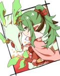1girl cape chiki closed_mouth dragon fire_emblem fire_emblem:_kakusei fire_emblem:_monshou_no_nazo from_side gloves green_eyes green_hair intelligent_systems long_hair mamkute nintendo pointy_ears ponytail red_gloves shunrai smile super_smash_bros. super_smash_bros._ultimate tiara
