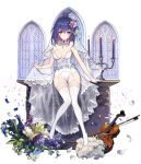 1girl bangs bare_arms bare_shoulders blush bouquet breasts bridal_veil bustier candle candlestand choker cleavage earrings eyebrows_visible_through_hair flower frills full_body gluteal_fold hair_between_eyes hair_flower hair_ornament holding houchi_shoujo instrument jewelry kyundoo leaf looking_at_viewer medium_breasts multicolored_hair parted_lips petals pink_hair purple_flower purple_hair see-through short_hair sitting solo strapless thigh-highs thigh_gap two-tone_hair underwear underwear_only veil viola_(instrument) waist_cape white_choker white_legwear window