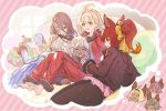 3girls 4girls :d ahoge animal_ears anthuria barefoot black_hair blonde_hair blue_eyes blush_stickers brown_eyes candy chloe_(granblue_fantasy) closed_eyes commentary commentary_request couch cup dark_skin elsam_(granblue_fantasy) erune feet food granblue_fantasy hairband indoors jacket jeanne_d'arc_(granblue_fantasy) lollipop long_hair lowain_(granblue_fantasy) mask multicolored_hair multiple_girls official_art open_mouth ponytail purple_hair red_eyes redhead rosamia_(granblue_fantasy) short_hair smile sweater thought_bubble toes tomoi_(granblue_fantasy) track_jacket track_suit two-tone_hair white_hair