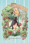 1girl bare_shoulders berry blonde_hair blueberry breasts cleavage collarbone detached_sleeves food fruit green_eyes hair_ornament halterneck imu_(lom) legend_of_mana long_hair medium_breasts raspberry seiken_densetsu solo souichi strawberry tree walking weapon