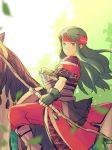 1girl arrow bandanna black_gloves boots bow_(weapon) brown_footwear dress expressionless fingerless_gloves fire_emblem fire_emblem:_fuuin_no_tsurugi gloves green_eyes green_hair headband highres horse horseback_riding long_hair looking_at_viewer nintendo nishimura_(nianiamu) pants plant quiver riding sash short_sleeves shoulder_armor solo straight_hair sue_(fire_emblem) weapon