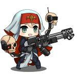 1girl absurdres adepta_sororitas aqua_eyes blonde_hair body_armor chibi drone flamethrower girls_frontline gloves habit highres moonface nun parody pauldrons shadow skull solo warhammer_40k weapon