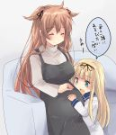 2girls age_difference ahoge apron blonde_hair blush breasts closed_mouth couch eyebrows_visible_through_hair green_eyes grey_apron grey_shirt hair_flaps hair_tie hand_on_own_stomach height_difference hirune_(konekonelkk) indoors jewelry kantai_collection large_breasts long_hair long_sleeves multiple_girls murasame_(kantai_collection) older open_mouth pregnant ring shirt sitting translated two_side_up very_long_hair wedding_ring younger yuudachi_(kantai_collection)
