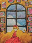 1girl bangs blonde_hair blue_eyes blue_sky bow clouds cloudy_sky dress expressionless eyebrows_visible_through_hair flower frame hair_bow highres long_hair long_sleeves no_nose original pink_flower red_bow sakura_szm sky solo traditional_media upper_body very_long_hair wall watercolor_(medium) window