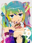 1girl 39 aqua_hair bare_shoulders blue_eyes breasts cable character_name cleavage collar collarbone commentary detached_sleeves earrings facial_tattoo fingers_to_mouth gradient_hair green_hair hair_ornament hand_on_own_chest hatsune_miku jewelry looking_at_viewer multicolored multicolored_eyes multicolored_hair multicolored_nails nail_polish ring smile solo sparkle tattoo tongue tongue_out twintails vocaloid watch wkchi