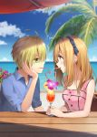1boy 1girl ahoge beach blonde_hair blue_eyes blue_shirt blue_sky blurry blurry_background blush brown_hair clouds collared_shirt commentary_request couple creatures_(company) cup drink drinking drinking_glass drinking_straw earrings eye_contact flower game_freak gladio_(pokemon) green_eyes hairband hand_on_own_cheek hetero highres horizon jewelry long_hair looking_at_another mizuki_(pokemon) nintendo ocean open_collar palm_tree pink_flower pink_tank_top pokemon pokemon_(game) pokemon_sm profile rupinesu shirt signature sky sleeveless table tank_top tree wing_collar