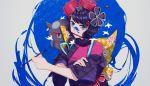1girl alternate_eye_color back_bow black_kimono blue_eyes bow checkered checkered_bow fate/grand_order fate_(series) gina_61324 grey_background hair_ornament holding_brush japanese_clothes katsushika_hokusai_(fate/grand_order) kimono looking_at_viewer paint_splatter print_kimono purple_hair shiny shiny_hair short_hair sleeves_rolled_up solo tokitarou_(fate/grand_order) upper_body yellow_bow
