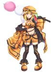 1girl absurdres akiteru98 alternate_costume animal_ears armband bandeau bangs bare_shoulders belt black_belt black_collar black_gloves black_legwear blonde_hair boots breasts cleavage coat collar commentary_request crescent crescent_moon_pin criss-cross_halter dango eyebrows_visible_through_hair flat_cap food full_body gloves hair_between_eyes halterneck hand_up hat highres holding holding_food long_sleeves looking_at_viewer medium_breasts midriff mouth_hold navel off_shoulder open_clothes open_coat orange_coat orange_footwear orange_headwear orange_shorts rabbit_ears red_eyes ringo_(touhou) sanshoku_dango short_hair short_shorts shorts sidelocks simple_background skindentation smile solo standing stomach thigh-highs thighs touhou wagashi white_background wide_sleeves