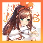 1girl a.i._channel aqua_eyes arm_support background_text bangs bare_shoulders blush border brown_hair closed_mouth commentary_request detached_sleeves eyebrows_visible_through_hair hair_ribbon hairband highres kitazume_kumie kizuna_ai long_hair long_sleeves multicolored_hair orange_border orange_hair orange_hairband orange_ribbon ramen ribbon shiny shiny_hair sleeves_past_wrists solo streaked_hair swept_bangs table tareme translation_request upper_body virtual_youtuber