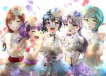5girls aqua_hair aqua_rose bang_dream! bangs blue_choker blue_flower blue_hair blue_rose blush bracelet brown_hair choker closed_eyes commentary_request dress elbow_gloves eyebrows_visible_through_hair flower gem gloves green_eyes grin hair_flower hair_ornament hikawa_sayo holding_own_arm imai_lisa jewelry long_hair minato_yukina mokka_(31911633) multiple_girls open_mouth pink_flower pink_rose purple_flower purple_hair purple_rose red_flower red_rose rose roselia_(bang_dream!) shirokane_rinko short_hair smile udagawa_ako violet_eyes yellow_eyes yellow_flower yellow_rose