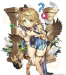 1girl :d ? ahoge ankh aqua_eyes bare_legs bare_shoulders black_bow blonde_hair blush bow breasts collar creature dress feathered_wings grass hair_bow hair_ornament hand_up hieroglyphics holding holding_pen index_finger_raised jewelry leaning_forward long_hair looking_at_viewer notebook official_art open_mouth paper pelvic_curtain pen pillar ring sandals side_ponytail side_slit small_breasts smile solo striped striped_dress tail thigh_strap thighs uchi_no_hime-sama_ga_ichiban_kawaii v-shaped_eyebrows watermark whoisshe wings