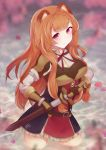 1girl aftergardens animal_ears armband blurry breastplate breasts cherry_blossoms depth_of_field expressionless eyebrows_visible_through_hair gauntlets hand_on_hilt head_tilt highres holding holding_sword holding_weapon large_breasts long_hair looking_at_viewer neck_ribbon orange_hair petals petals_on_liquid petticoat pink_eyes raccoon_ears raphtalia red_neckwear ribbon scabbard sheath shirt shoulder_armor sidelocks solo spaulders standing sword tate_no_yuusha_no_nariagari two-tone_dress unsheathing very_long_hair wading water weapon white_shirt
