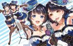 2girls :d armpits asaka_karin bangs black_footwear black_gloves black_hair black_legwear blue_eyes blue_feathers blue_flower blue_headwear blue_shirt blue_skirt breasts brown_eyes cleavage commentary_request cross-laced_clothes elbow_gloves flower frilled_shirt frills garter_straps gloves hair_ornament halftone hat hat_feather hat_flower high_heels jewelry kubota_miyu leg_ribbon long_hair looking_at_viewer love_live! love_live!_school_idol_festival microphone_stand miniskirt multiple_girls navel_cutout necklace open_mouth outstretched_hand perfect_dream_project purple_flower ribbon seiyuu_connection shirt skirt small_breasts smile standing standing_on_one_leg striped striped_legwear suspenders tomiwo twitter_username vertical-striped_legwear vertical_stripes zoom_layer